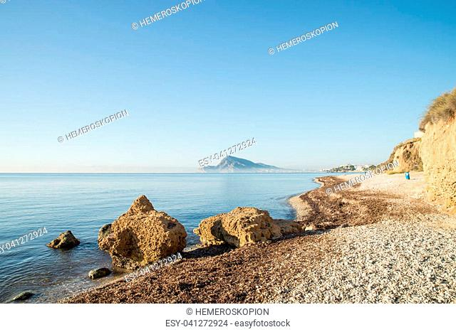 Early morning on the calm waters of Altea Bay, Costa Blanca, Spain