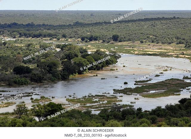 Panoramic view of a landscape, Olifants River, Kruger Park, South Africa