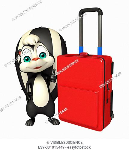 3d rendered illustration of Skunk cartoon character with travel bag