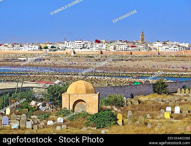 Panoramic of cemetery and beach of Rabat, Morocco, Africa