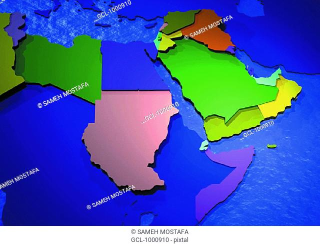 map of Arab countries in North Africa and the Middle East