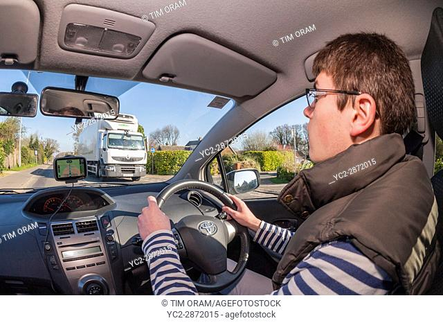 17 year old boy learning to drive in the Uk
