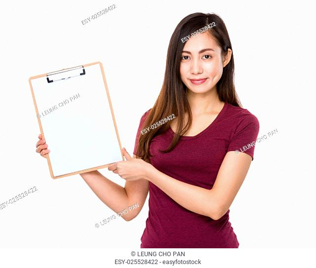 Young girl show with clipboard
