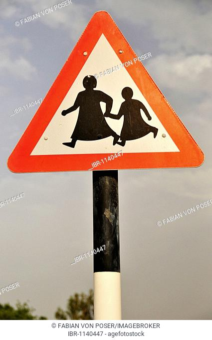 Traffic sign, Attention children, veiled, Al Ain, Abu Dhabi, United Arab Emirates, Arabia, Orient, Middle East