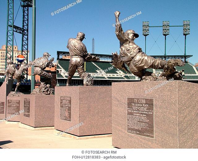Detroit, MI, Michigan, Motor City, Comerica Park, Stadium, Detroit Tigers, MLB, Baseball, famous baseball players statues