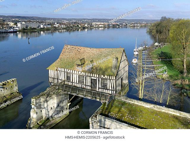 France, Eure, Vernon, Vernonnet, the old water mill on medieval bridge (aerial view)