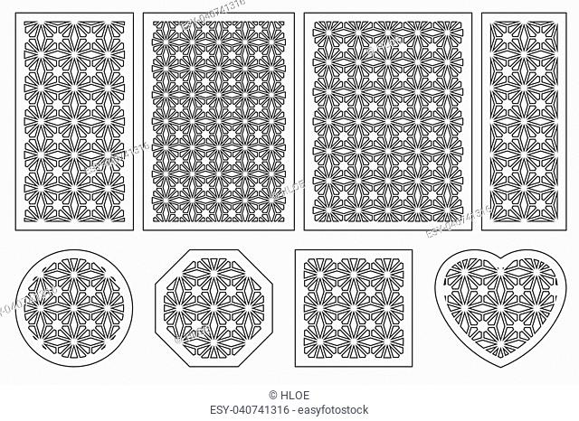 Set of cards to cut. Vector panels for laser cutting. The ratio 1:2, 2:3, 3:4, 1:3, round, octagon, square, heart. Cut silhouette with geometric patterns
