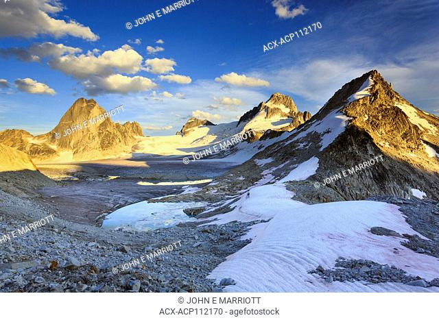 View of the Bugaboo Mountain range at sunset, Vowell Glacier, Bugaboo Spire, North Howser Tower and the Bugaboos Group