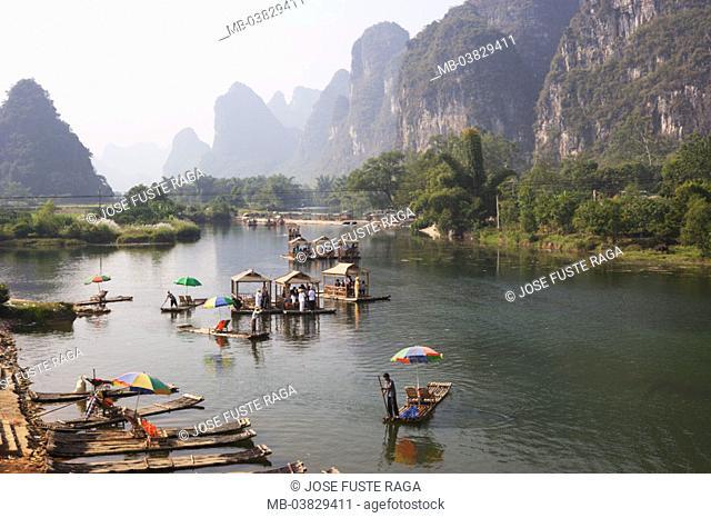 China, Guangxi Zhuang, Li River,  Landing place, float,   Asia, Eastern Asia, close to Yangshuo, destination, mountains, mountains, summits, river landscape