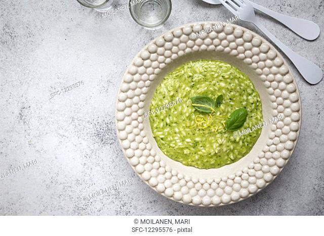 Lemon and basil risotto (seen from above)