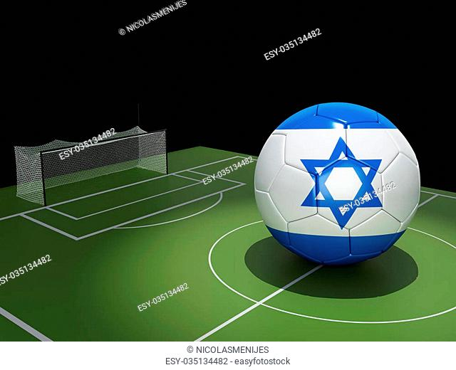 3d illustration. Soccer field and Israel ball. Sports concept