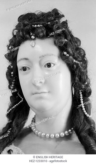 Royal funeral effigy of Queen Maryg, Westminster Abbey, London, 1945-1980. Photograph taken 1945-1980 of a detail of the wax funerary effigy of Queen Maryg...