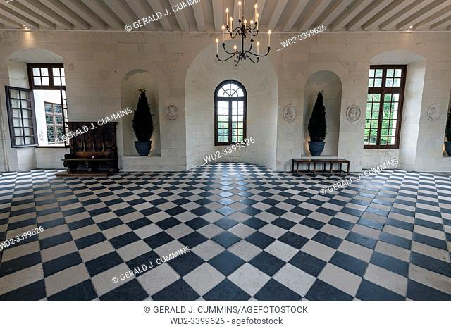 Europe France Chenonceaux : 2019-07 The interior of the Medici gallery in the castle of Chenonceau. Itâ. . s 60 metre long checkered tiled floor