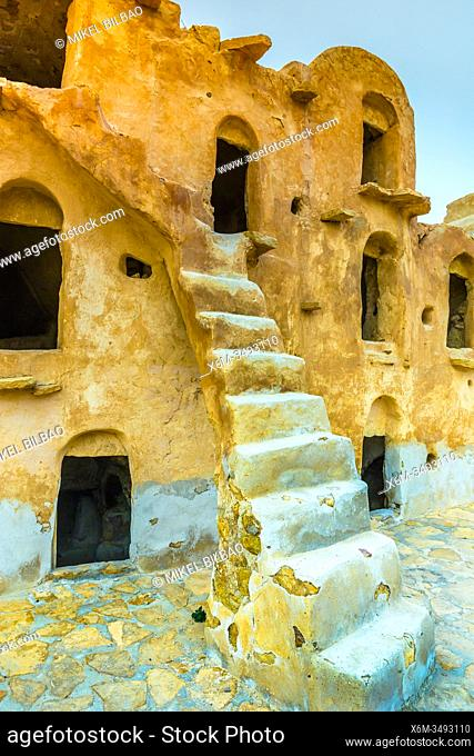 Fortified granaries (ksar). Ksar Ouled Soltane village. Tataouine district, Tunisia, Africa