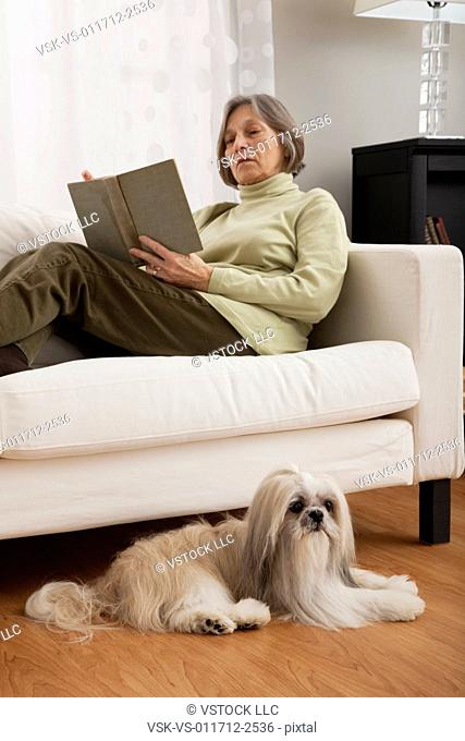 USA, Illinois, Metamora, Senior woman sitting on sofa and reading book, dog lying on floor