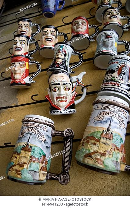 Mugs decorated with Vlad Tepes also known as Dracula on sale in the old town of Sighisoara, Transylvania. Romania