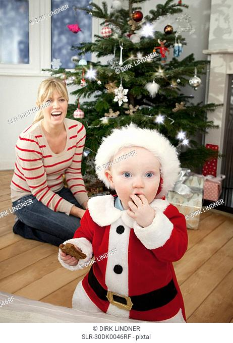 A mother and her baby at Christmas