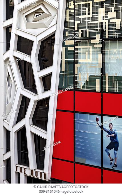 Architectural detail of building facade viewed from the Central Mid Level Escalators in the Central District of Hong Kong, S. A. R. , China