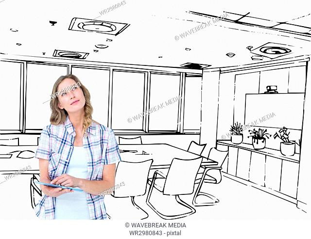 young happy woman with tablet designing the 3d new office