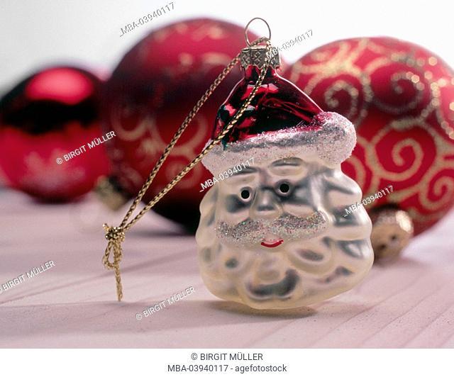 christmas tree decorations, pendants, Santa Claus, christmas tree balls, tree-jewelry, head, ornament, decoration, christmas-decoration, christmas