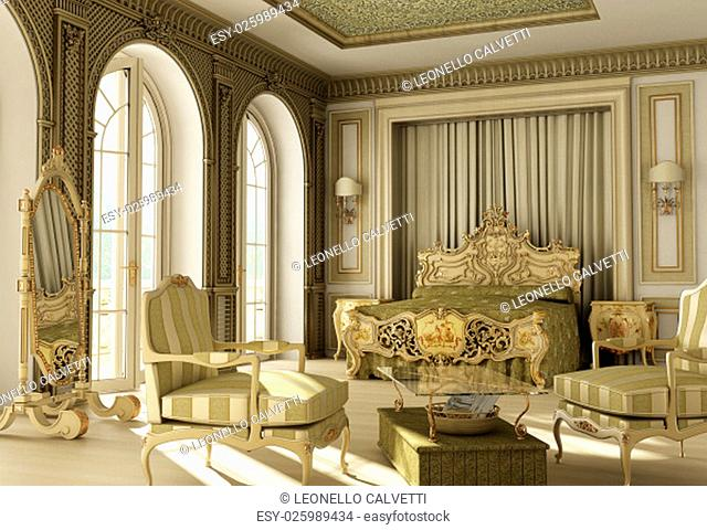 3D rendering of a luxury rococo bedroom with double window on balcony