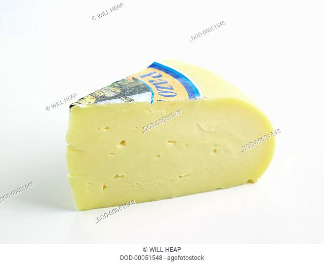Slice of Spanish Arzua-Ulloa DOP cow's milk cheese
