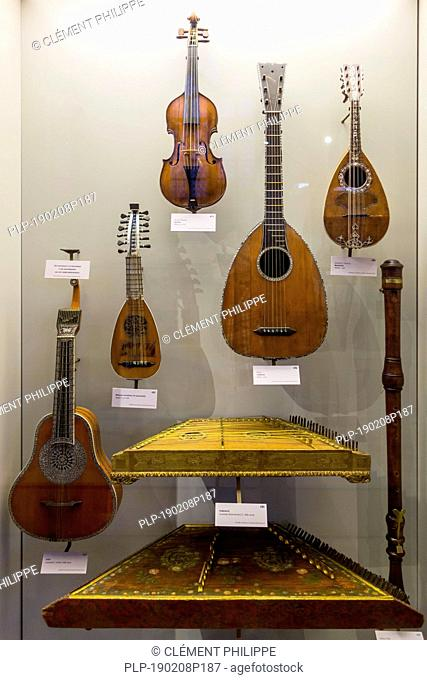 Collection of 18th century string instruments in the Vleeshuis / Butcher's Hall / Meat House, museum about musical instruments in Antwerp, Belgium