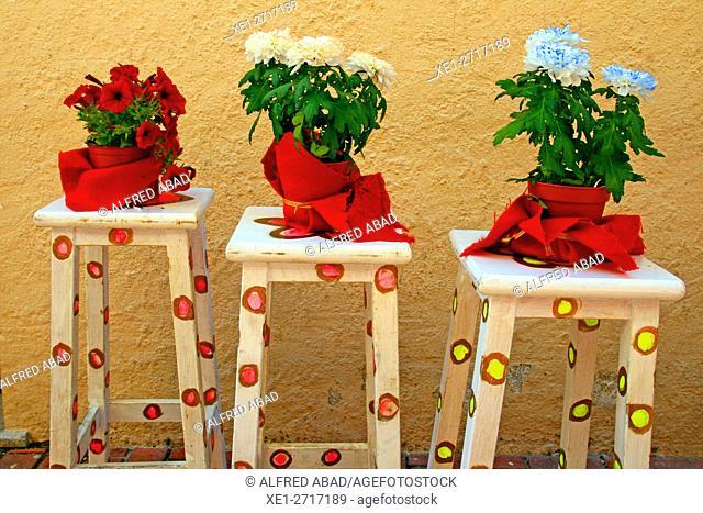 Flowerpots and stools, Begur, Girona, Catalonia, Spain