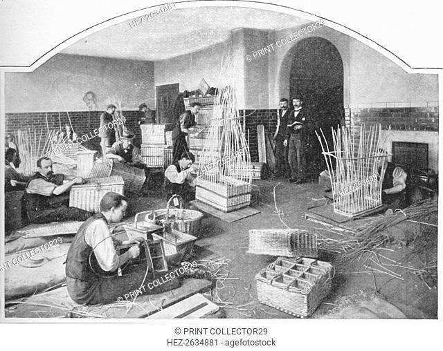 Blind basket-makers at work, Tottenham Court Road, London, c1901 (1903). Artist: Unknown