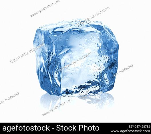 Drops of water on an ice cube isolated on a white background