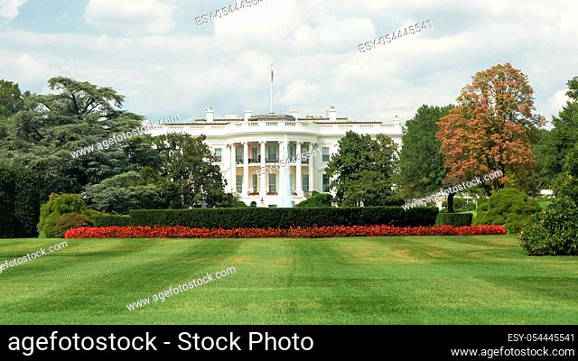 view of the white house in washington, dc from the south lawn