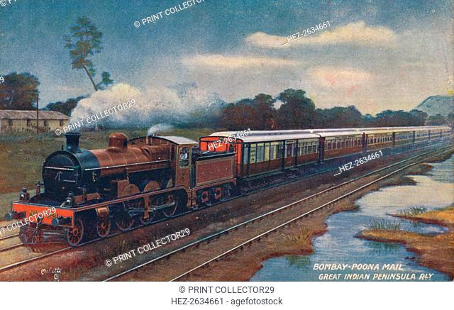 'Bombay-Poona Mail, Great Indian Peninsula Railway', c1900. Artist: Unknown