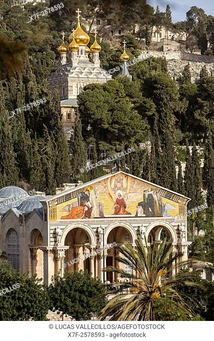 Russian-orthodox Maria-Magdalene Church and Church of all nations also called agony basilica on the Mount of Olives. , Jerusalem, Israel