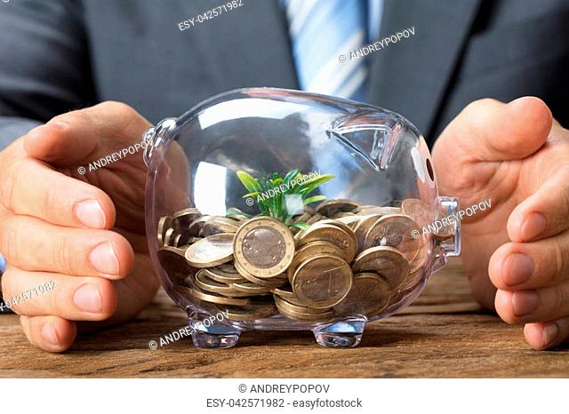Closeup of businessman covering transparent piggybank with coins and plant on table