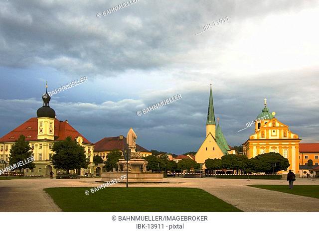 Altötting Altoetting Upper Bavaria Germany Kapellplatz in the evening after a thunderstorm