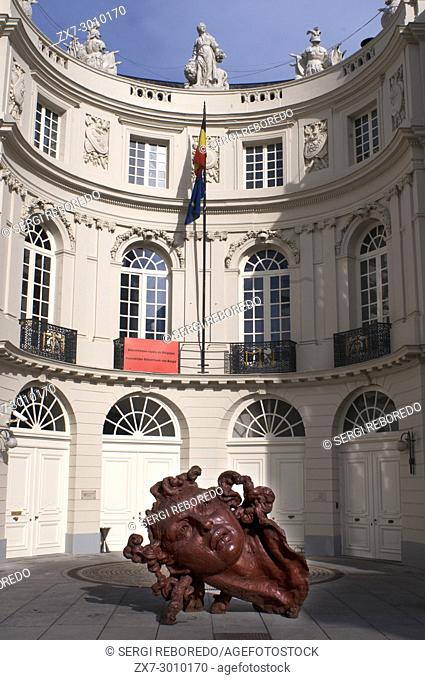 A sculpture from polyester resin by the Mexican artist Javier Marin called Cabeza de Mujer Roja. The Palais de Charles de Lorraine Musee, Brussels, Belgium