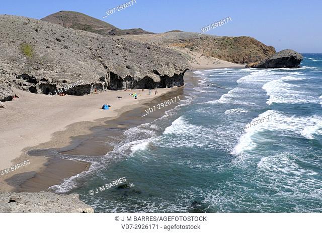 Playa de Monsul with La Peineta. Cabo de Gata-Nijar Natural Park, Almeria province, Andalucia, Spain