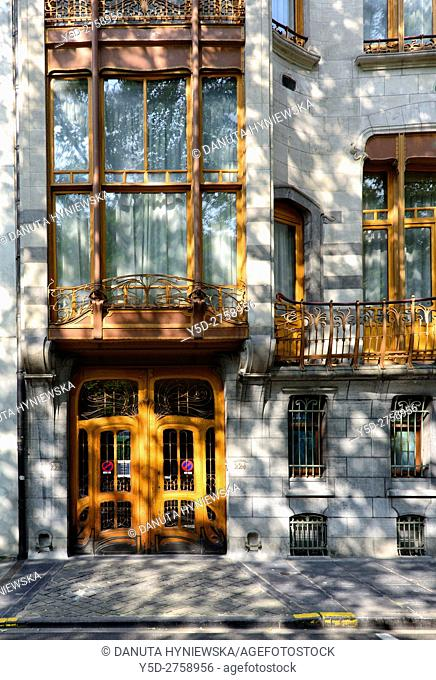 Art Nouveau Solvay Hotel by Victor Horta, together with three other town houses of Victor Horta, including Horta's own house and atelier