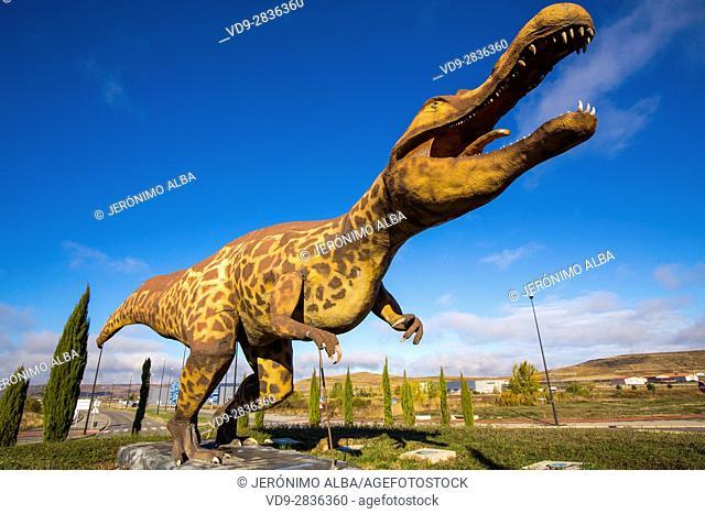 Life size replica of dinosaur in Burgos, Castilla-Leon, Spain Europe
