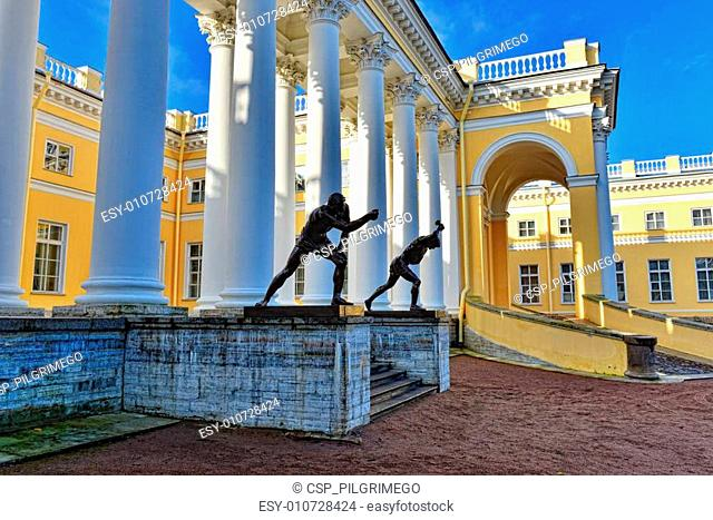 The exterior of Alexander palace in Pushkin