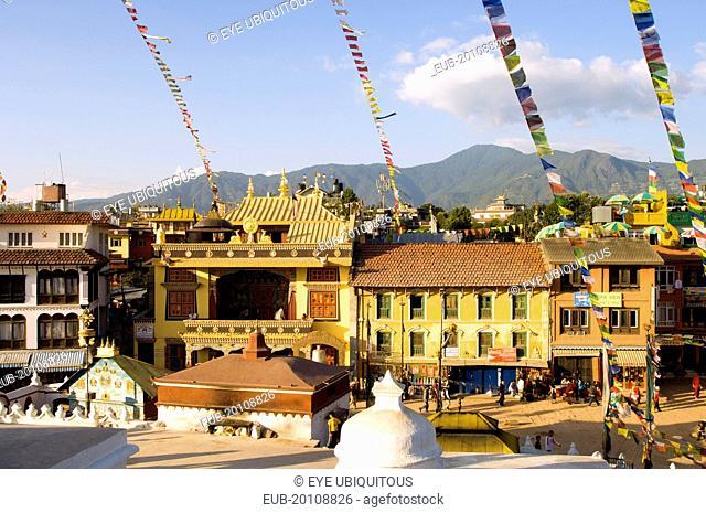 The streets beside Bodnath Tibetan Buddhist Temple