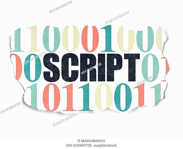Database concept: Script on Torn Paper background