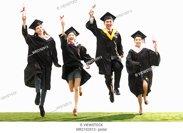 Students in graduation clothing