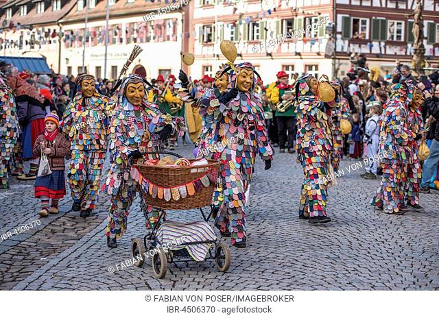 Spättlehansel on the carnival procession, Big Fasendumzug, Alemannic Fasnacht, Gengenbach, Ortenaukreis, Baden-Württemberg, Germany
