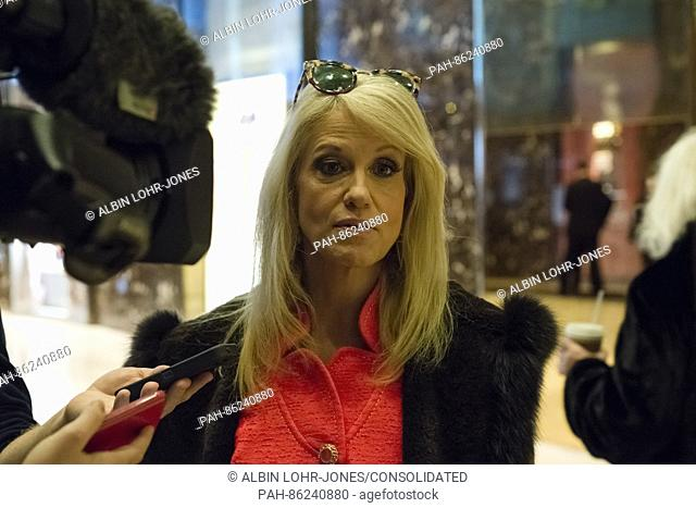 Trump campaign manager Kellyanne Conway speaks with member of the press in the lobby of Trump Tower in New York, USA on 3 December 2016
