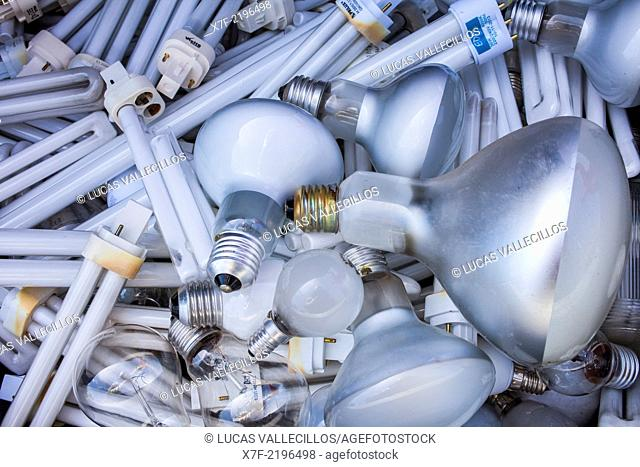 lamps for disposal at a recycling yard, recycling center
