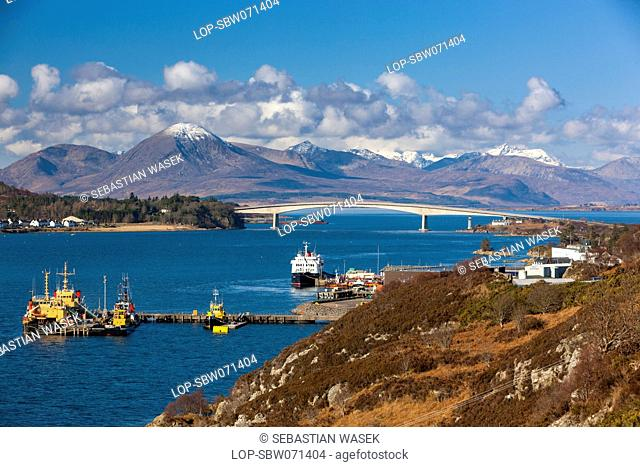 Scotland, Highland, Kyle of Lochalsh. A view towards the Skye Bridge over Loch Alsh
