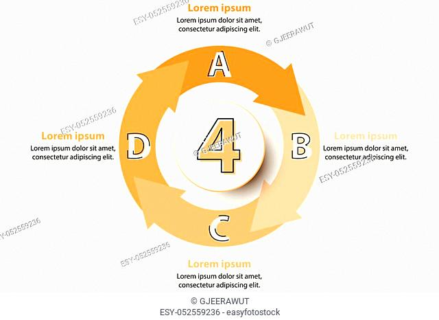 Four topics orange arrow chart with 3d paper circle in center for website presentation cover poster vector design infographic illustration concept