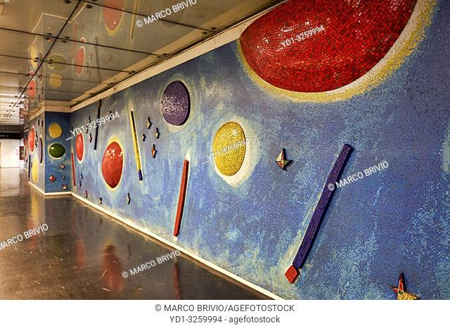 Naples Campania Italy. Artwork at metro subway station