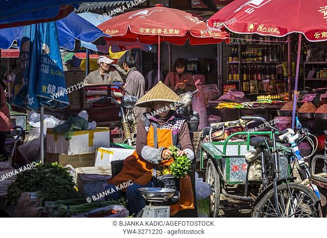 Zhongyi market, Old Town of Lijiang, Yunnan province, China